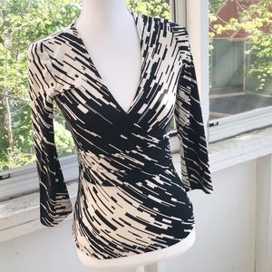 BCBG MAX AZRIA V-Neck Wrap Top 3/4 Sleeves